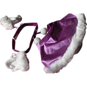 Doll Cape Head Band Gloves Faux Fur Purple Medium Doll