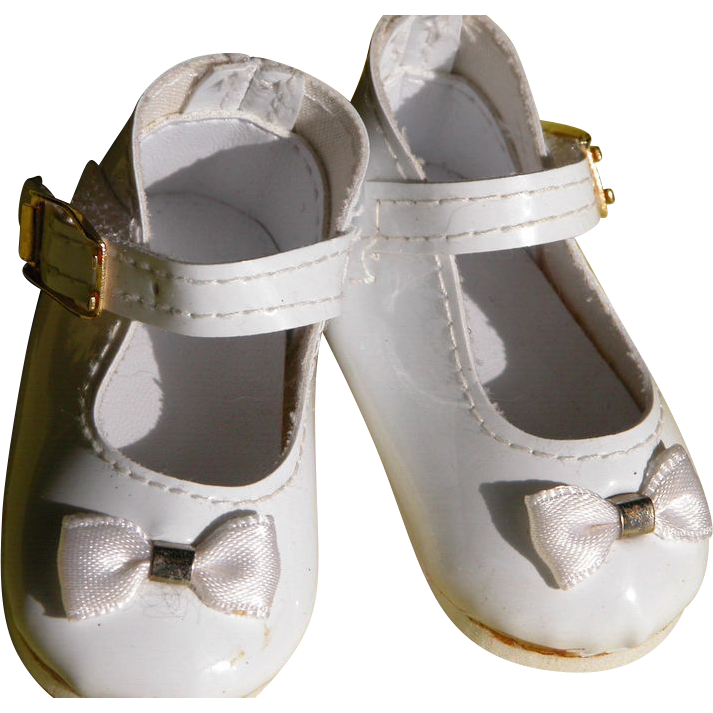 Baby Doll Shoes with Bow and Ankle Strap White Patton Leather
