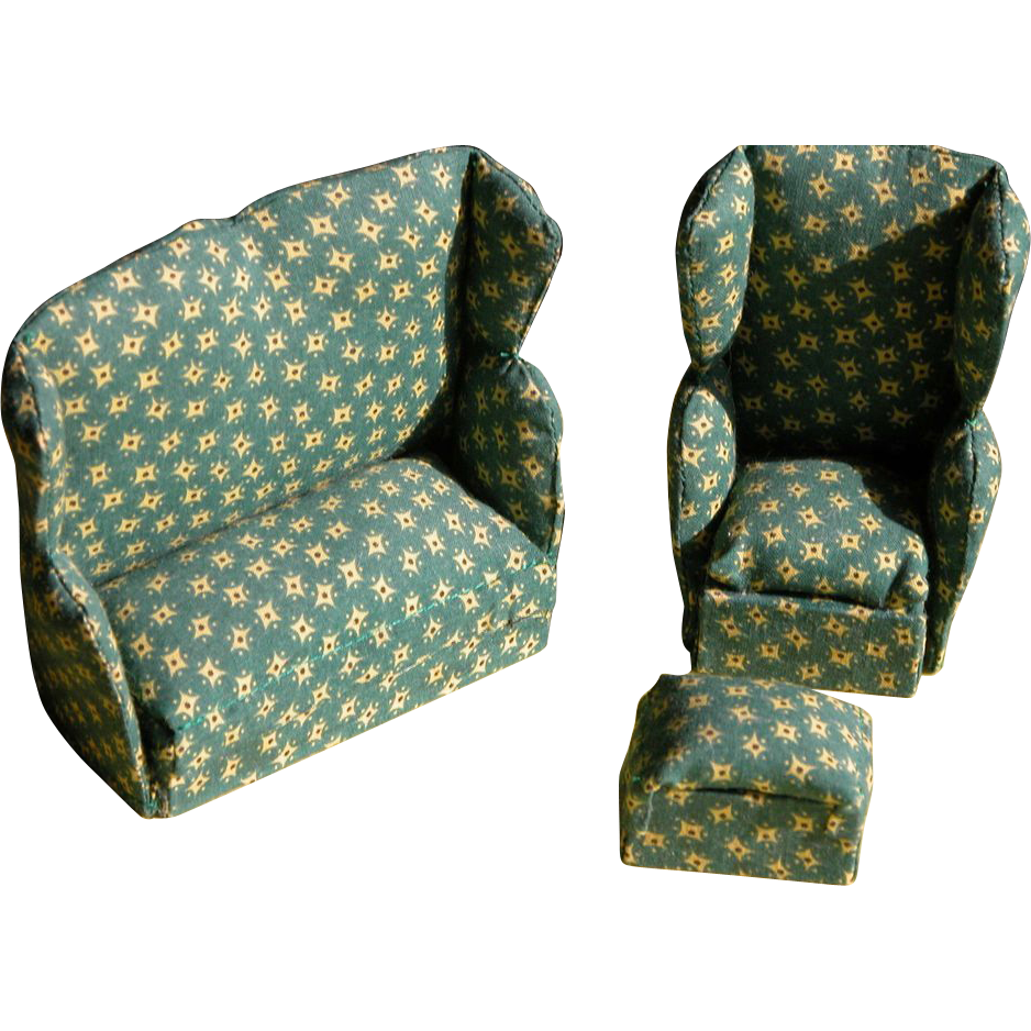 Doll House Sofa Wingback Chair and Ottoman Three Piece ...