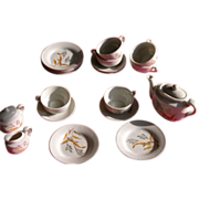 Doll Tea Set Dishes Porcelain with Bird of Paradise Pattern for Japan