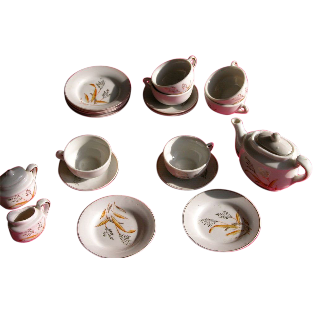 1940's Doll Tea Set of Porcelain Dishes Bird of Paradise Pattern from Japan