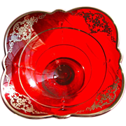 Art Nouveau Sterling Silver Overlay Red Glass Bowl Fruit Bowl