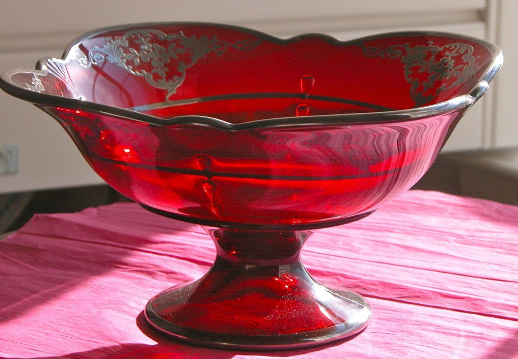 Red Bowl Art Nouveau Sterling Silver Overlay Glass Fruit