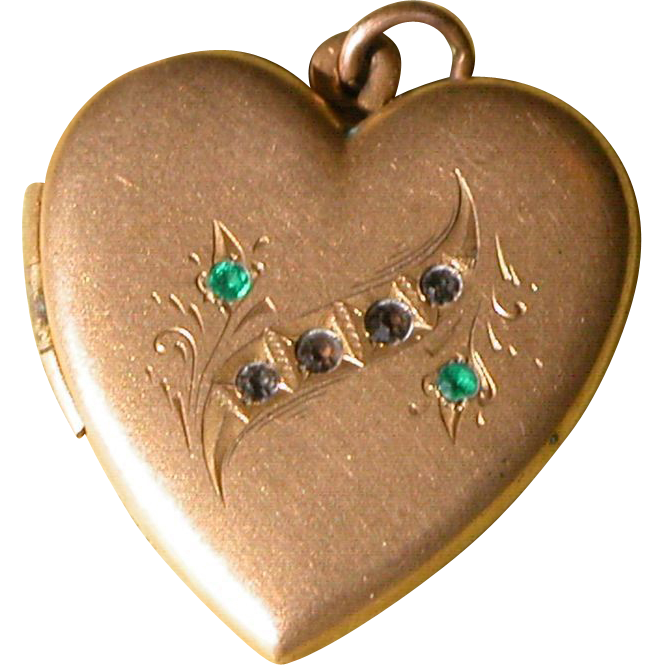 heart locket gold filled paste rhinestones double frame