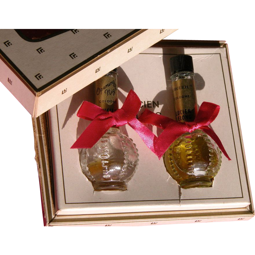 Vintage Mini Perfume Bottles in Box by Lucien Lelong Perfect