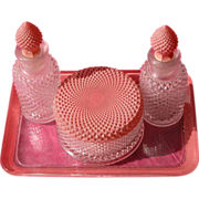 Perfume Bottle Powder Bowl and Glass Tray Vanity Set Deco Design Duncan and Miller