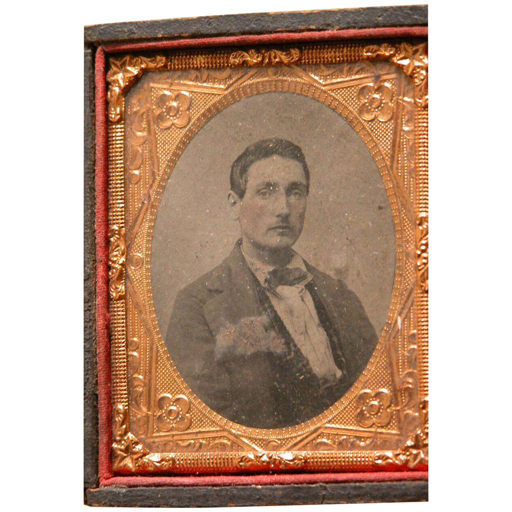 Tin Type Photograph of Gentleman Leather Frame Half