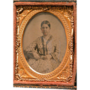 Antique Framed Picture Photo of Woman for Dollhouse or Collector