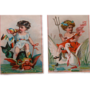 Victorian Trade Cards Blanks Fantasy Two Cards Lithographs