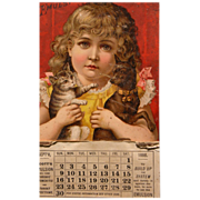 Frances Brundage Calendar from 1888 with Cat and Dog Scott's Emulsion