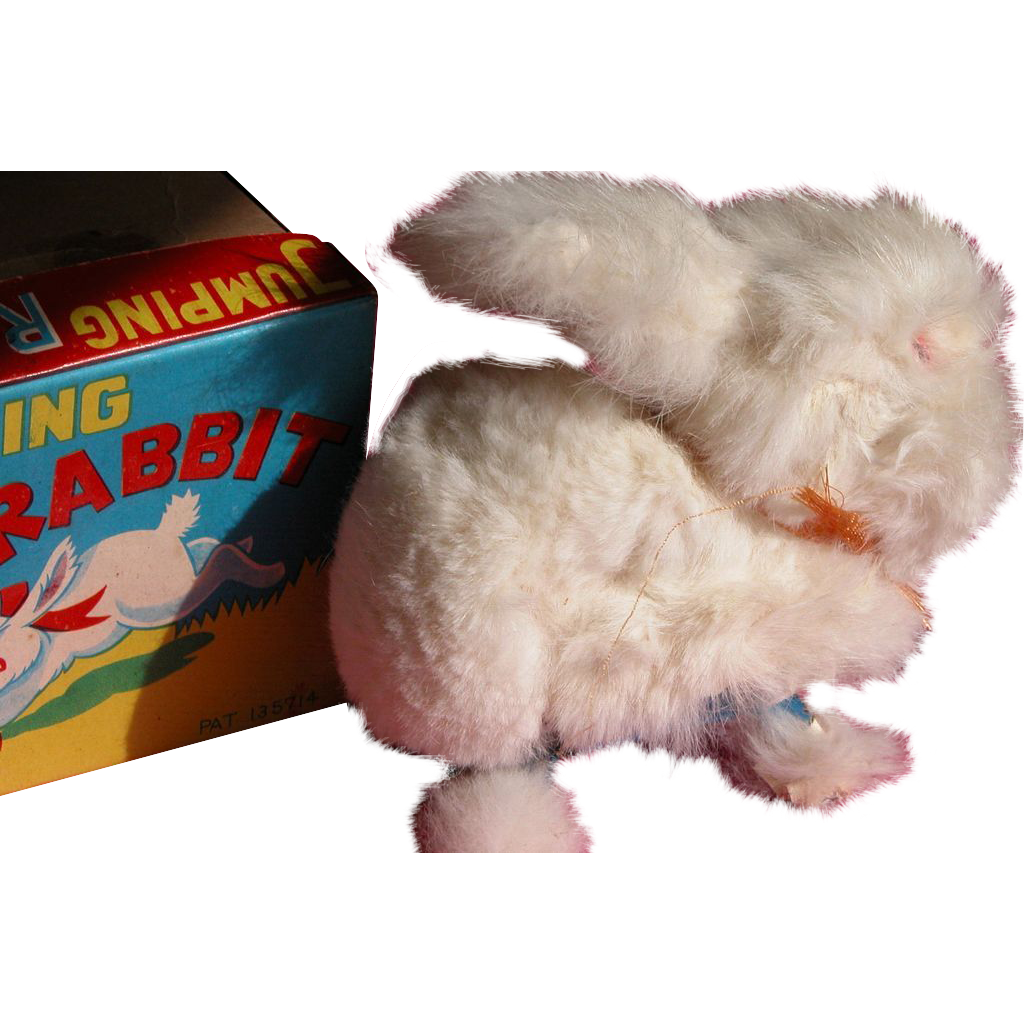 Wind Up Bunny Rabbit with Fur Toy In Box Excellent Condition