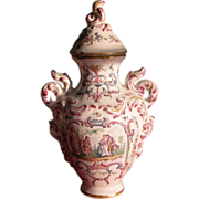 French Covered Urn Jar Old Mark French Country Ceramic - Red Tag Sale Item