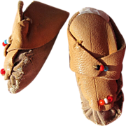 Doll Indian Shoes Moccasins Leather with Beads Vintage Doll Real Leather
