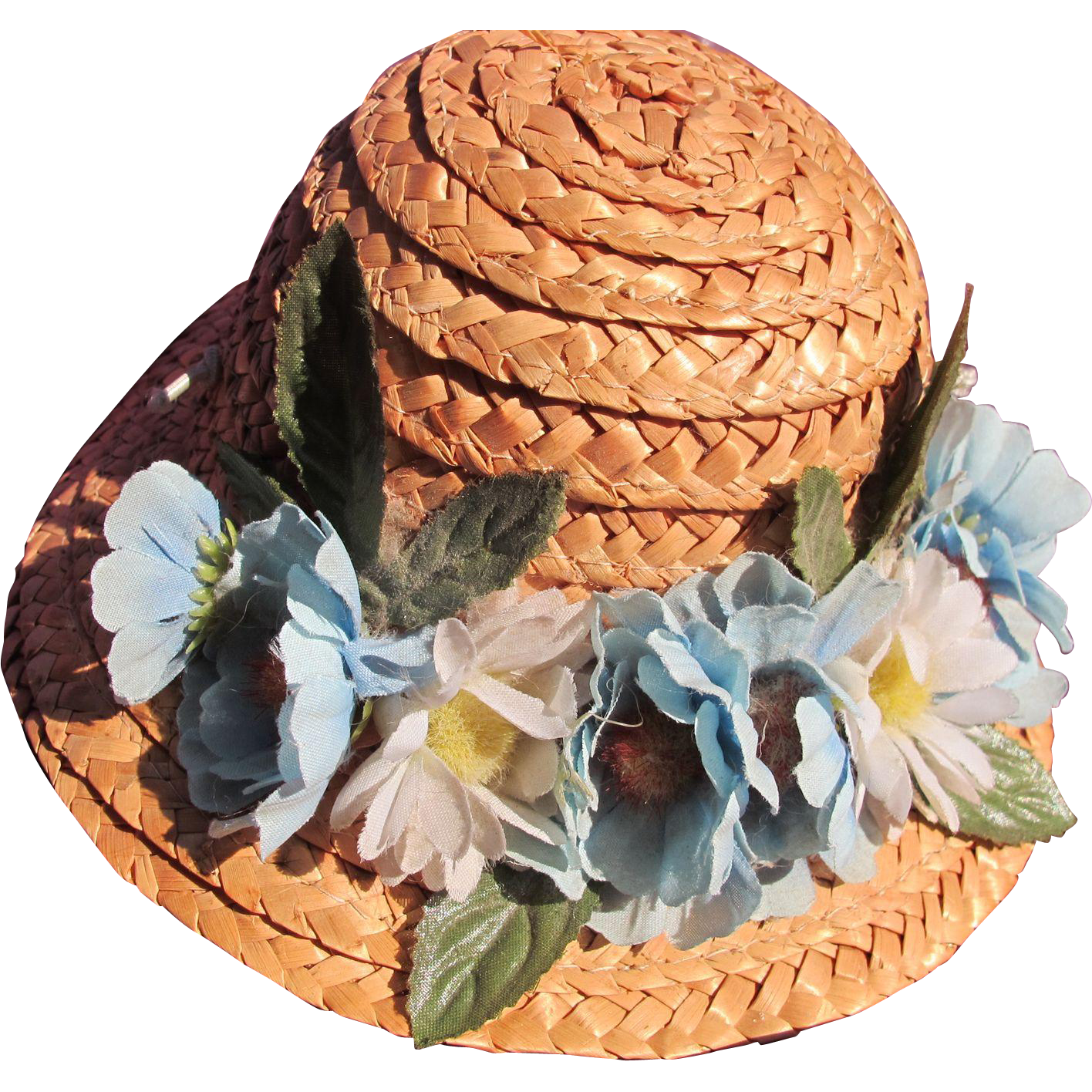 Vintage Straw Hat for Doll with Blue Flowers