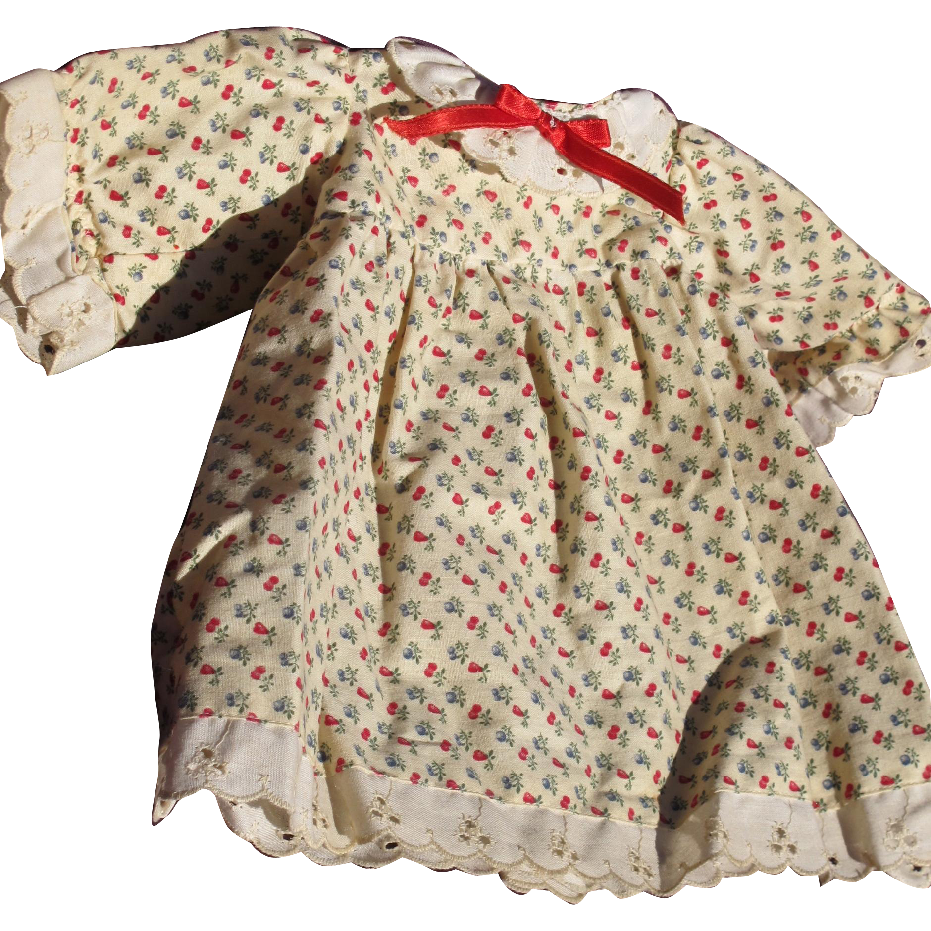 Vintage Doll Dress with Cherries and Eyelet Lace