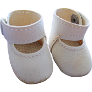 Doll Shoes in White Ankle Straps with Snaps