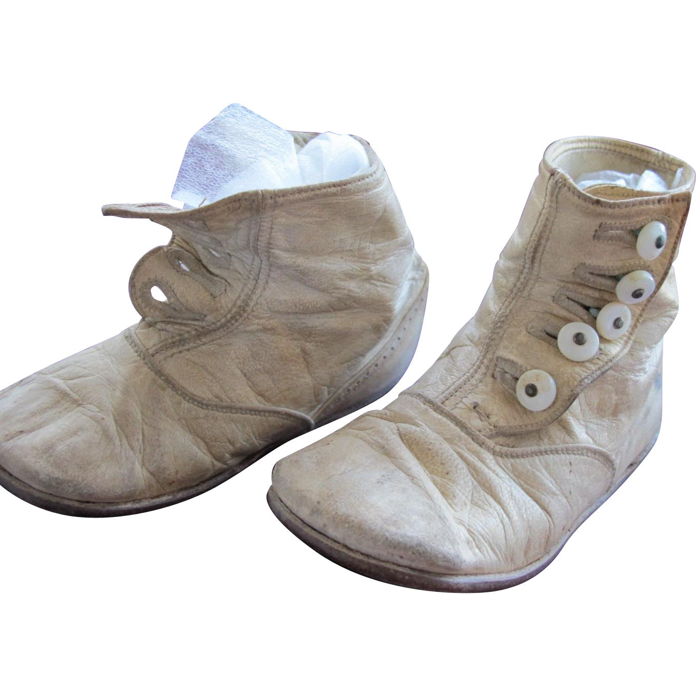 Baby Doll Shoes White Leather with Shoe Buttons from