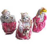 Three Mechanical Dolls Rolls on Wheels Toys Japan