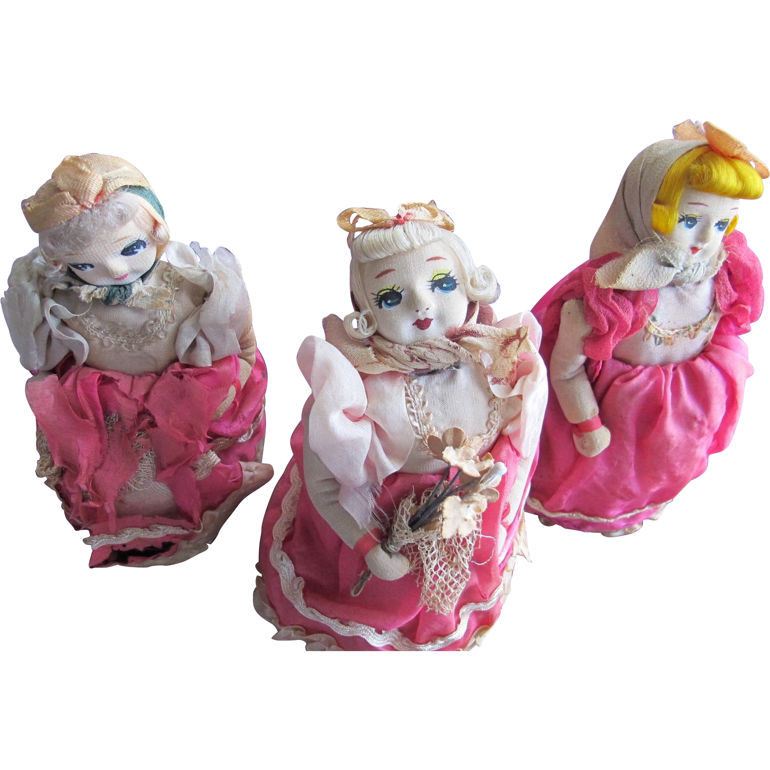 Three Mechanical Dolls Rolls on Wheels Toys Japan