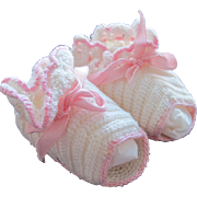 Baby Doll Shoes Vintage Hand Crocheted in Excellent Condition