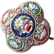 Mini Micro Mosaic Pin Button Italy Great Condition Turn of the Century
