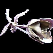 Rose Brooch of SilverTone by Giovanni Pristine