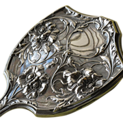 Silver Hand Mirror with Flowers Marked 1914 Art Nouveau