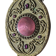 Hand Mirror Guilloche Enamel and Purple Jewels 1920's