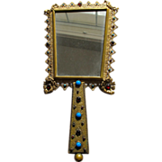 Austrian Hand Mirror Austrian Jeweled Mirror Faux Gems 1920's