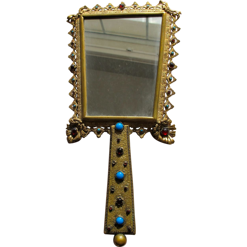 Austrian Hand Mirror Austrian Jeweled Mirror Faux Gems 1920's