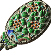 Antique Hand Mirror Enamel Oriental 1900