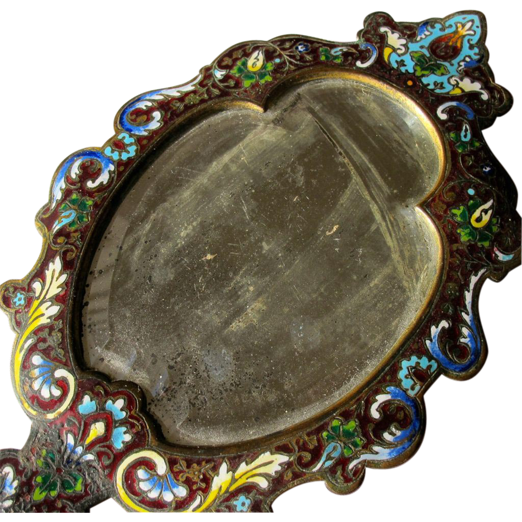 French Hand Mirror Champleve Enamel 1850-1880