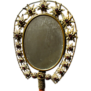 Antique Hand Mirror with Glass Cabochons Beveled Nineteenth Century