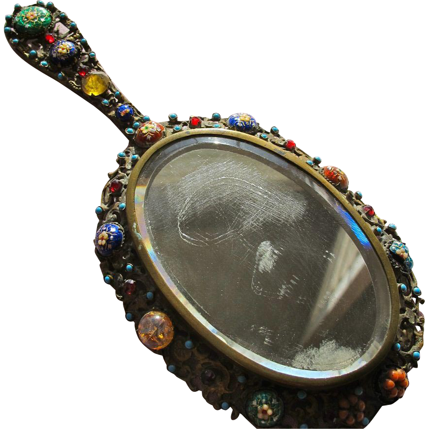 Antique Hand Mirror with Glass Beads Small