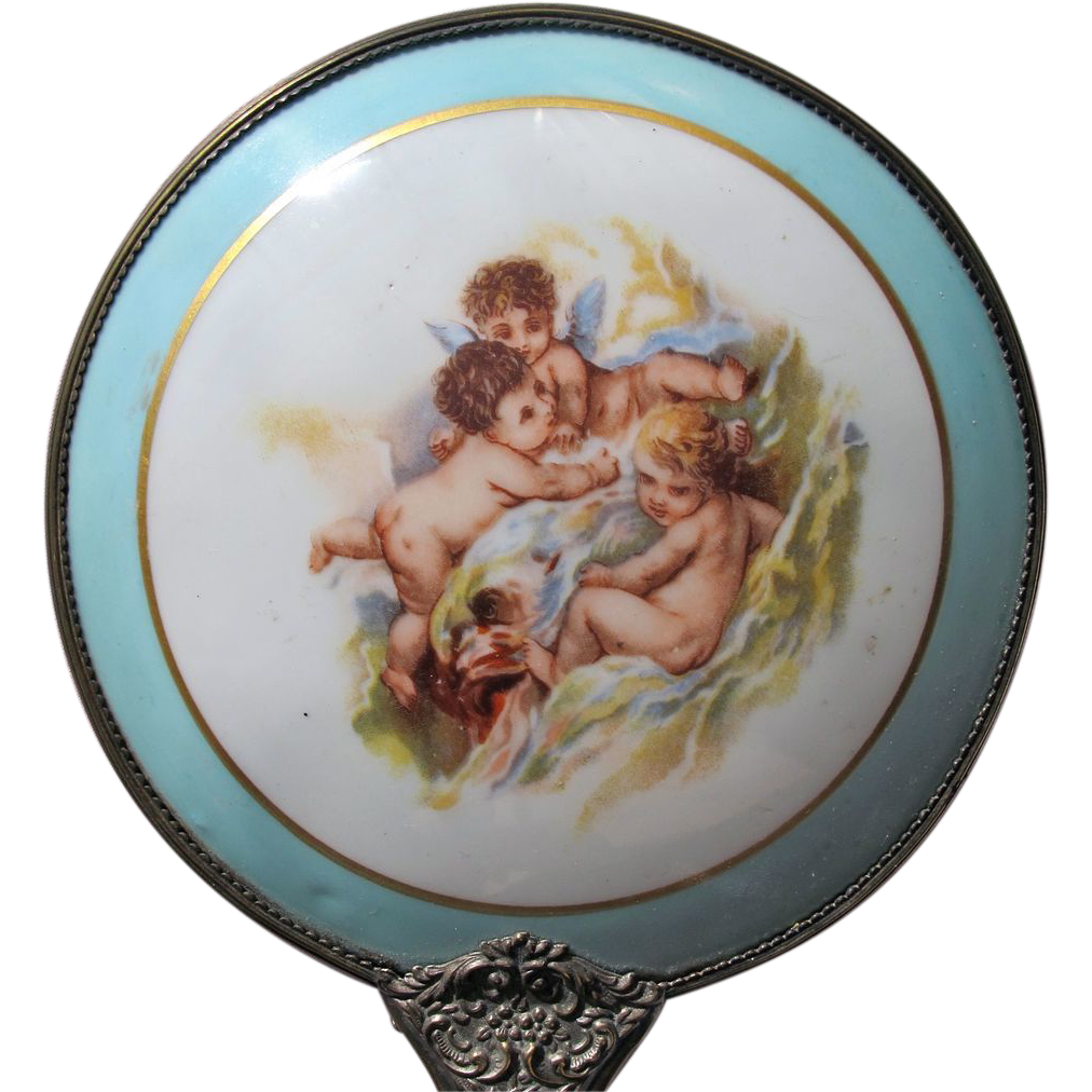 Limoges Hand Mirror Porcelain with Angels Brass Handle