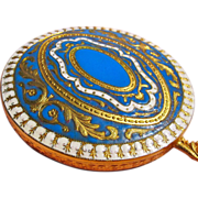 Enamel Hand Mirror In Great Condition Small