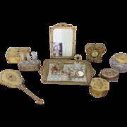 SALE Vanity Set Jeweled Perfume Bottles Vanity Tray Boxes Jars Mirrors Clock and Frame