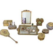 Vanity Set Jeweled Perfume Bottles Vanity Tray Boxes Jars Mirrors Clock and Frame