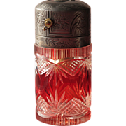 French Perfume Atomizer with Cut Glass Red to Clear Antique Perfume Bottle