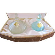 Perfume Bottles in Box Russian Vintage Set Blue Jeweled Box
