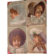 Four Victorian Trade Card Girls in Hats Lithographs