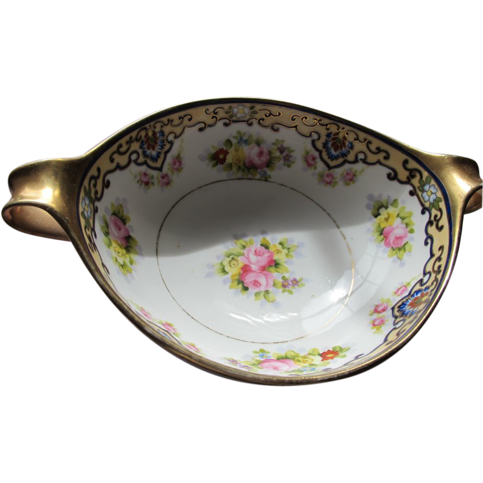 Nippon Porcelain Bowl Vintage Roses Hand Painted Marked