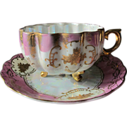 Porcelain Tea Cup and Saucer on Feet 22 K Gold Hand Painted