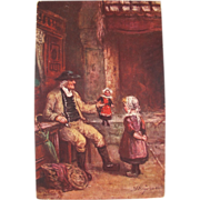 Post Card Tucks Oilette Artist Signed Holland Child and Doll