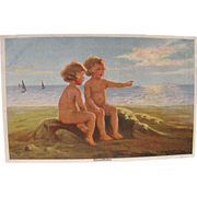 Artist Signed Post Card with Beach Babies at Sunset W Fialkowska