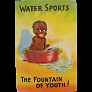 Post Card Black Americana Water Sports Unused