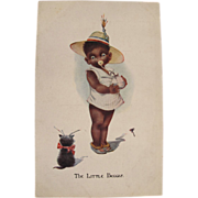 Post Card Black Americana with Baby and Kitten Artist Signed