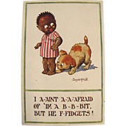 Artist Signed Post Card Black American Child with Dog
