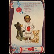 Black Americana Post Card Artist Signed R.F. Outcault for Valentine's Dog Teddy Bear