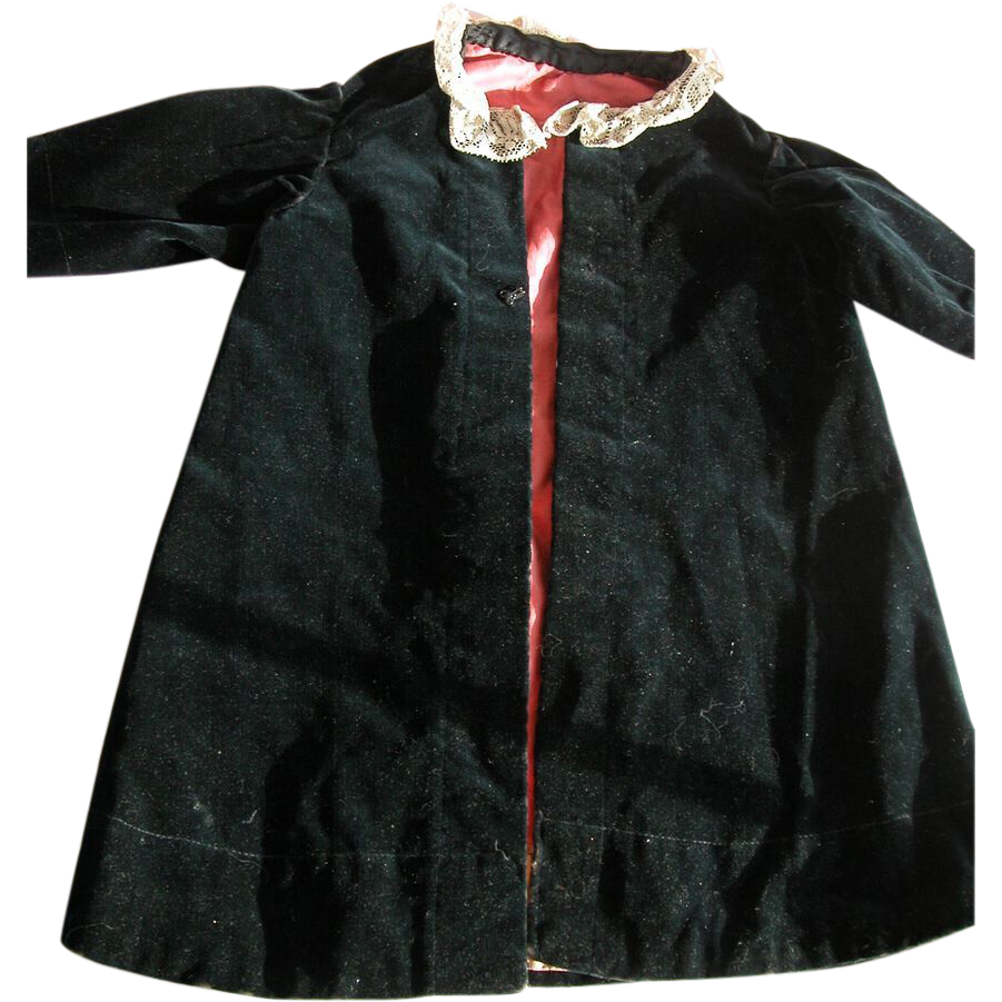 Victorian Doll Coat in Black Velvet